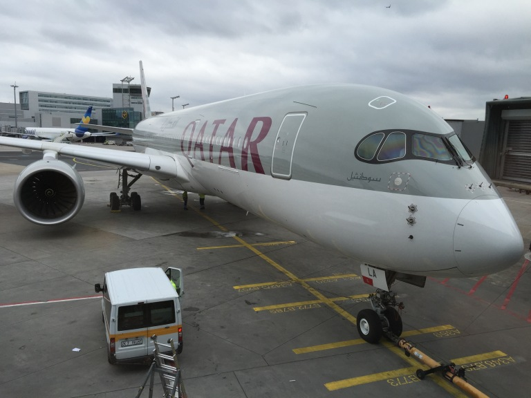 A brand new Qatar Airways A350 at FRA